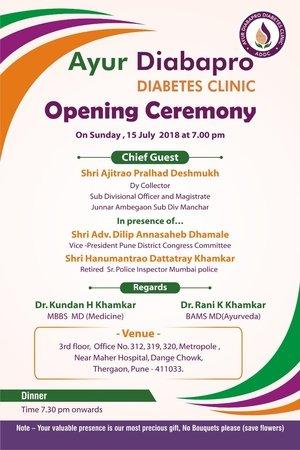 Inauguration Invite AYUR Diabapro DIABETES CLINIC
