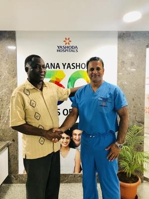 Mr.Richard Kapita ( Minister Republic of Zambia ) following his lumbar spine surgery .|Dr.Kiran Kumar Lingutla|Ameerpet,Hyderabad