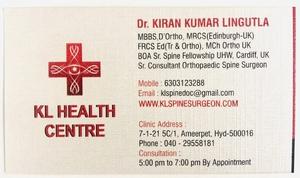 KL Health Centre Clinic|Dr.Kiran Kumar Lingutla|Ameerpet,Hyderabad