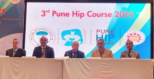 Photo : Dr. Hrushikesh Saraf with stalwarts of Pune Hip Course